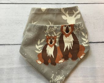FREE US SHIPPING Bandana Bibs (set of 2) in Hello Bear and Bucks in Grey // Great for boy or girl! // Gender Neutral