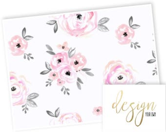 Design Your Own -Gorgeous Watercolor Floral in pink peach blush pink - changing pad cover, rail covers, boppy covers, sheet,  skirt, bumpers