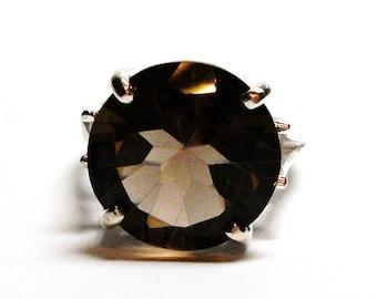 "Smokey quartz, smokey quartz ring, statement ring,  solitaire ring, brown ring, brown,  s 6 1/2  ""Dark Chocolate"""