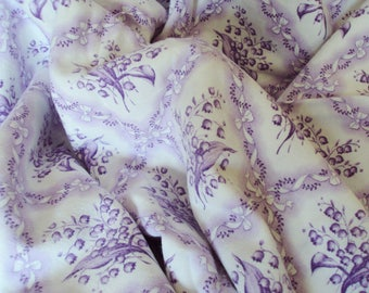 Vintage French Fabric Lilac Lavender Lily of the Valley Diamond Shapes Bows Suitable for Patchwork Quilting,