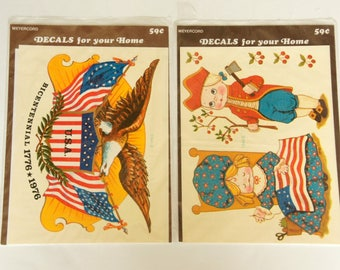Presidents Day Decor, Vintage Meyercord Decals, Patriotic Decals, George Washington, American Flags Eagle, Betsy Ross, 1970s NOS Unopened