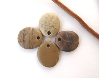 Rock Pendants Top Drilled Beach Stones Mediterranean River Stone Beads Natural Stone DIY Jewellery Creme Peach SMOOTH PENDANTS 25-26 mm