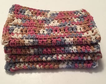 4 Large dish cloths/ dish rags/ wash cloths made with 100% cotton yarn Rosey Sheekd