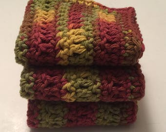 3 Large dish cloths/ dish rags/ wash cloths made with 100% cotton yarn Autumn Leaves