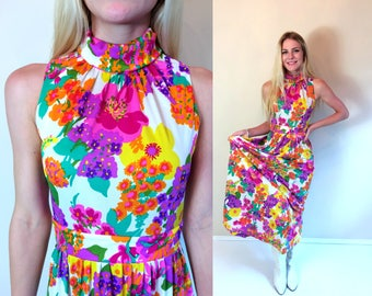 vtg 60s VIBRANT FLORAL mod Maxi DRESS xs/s colorful psychedelic rainbow bold hippie boho