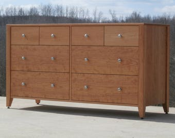 """X8320A Hardwood Dresser with 8 inset Drawers,  Frame Sides, 60"""" wide x 20"""" deep x 32"""" tall - natural color"""