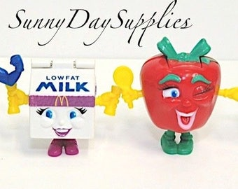 McDonald's Happy Meal Toys, Apple, Milk, Sandwiches, Steak, Vintage Toys, Little People Toys, Gifts for kids, 4 in lot,