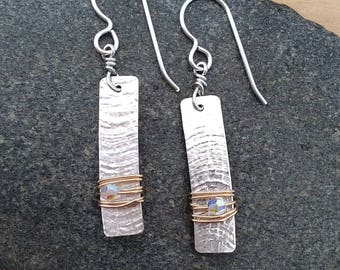 Two Tone Earrings, Sterling Silver and 14k Gold Filled with Swarovski Crystals, Medium Size