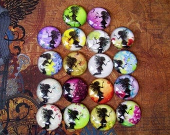 Faeries and Flowers Cabochons (L23) Jewelry and Craft Supply, Lot of 18 pieces, 25mm Sparkle Image Under Glass Dome