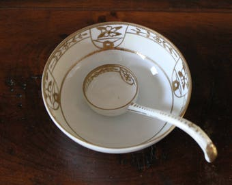 Nippon Sauce Dish with Spoon, Sauce Bowl with Scoop, Gravy Dish, Nut Dish, Serving Bowl Dish
