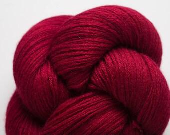 December Cranberry Cashmere Silk Fine Fingering Weight Recycled Yarn, SCH00280