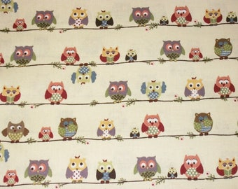 Owl Fabric, By The Yard, Blank Textiles Fabrics, Quilting Crafting Sewing Fabric, Cotton Fabric, Novelty Fabric, Whimsical Fabric