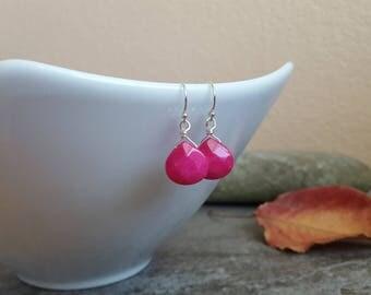 Pink Drop Earrings - Hot Pink Faceted Jade Teardrop Wire Wrapped Earrings in Sterling Silver,  jingsbeadingworld inspired by nature