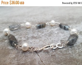 Clearance Rutilated Quartz & Pearl Bracelet - Black and White - Pearl and Gemstone Silver Jewelry, jingsbeadingworld inspired by nature