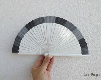 Three Tone Grey Gray Flamenco Wooden Handheld Fan Hand Painted SIZE OPTIONS in Spain by Kate Dengra