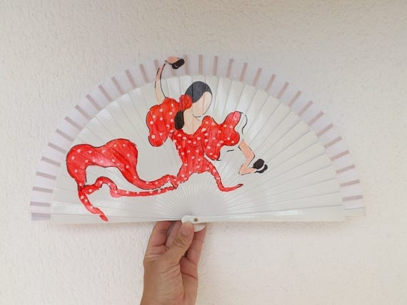 Red White Flamenco Dancing Lady Design Spanish Hand Fan Limited Edition