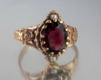 Antique Victorian Garnet and Pearl Rose Gold Engagement Ring 10K