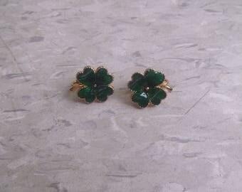 vintage clip on earrings goldtone green enamel 4 leaf clover luck