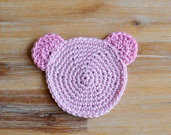 Pink Crochet Teddy Coaster - 100% Baby Pink Cotton Teddy Bear Coaster Set of 2 - Made To Order