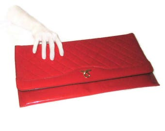 80s Red Purse, Envelope Purse, Lipstick Red Purse, Faux Red Patent, Faux Patent Leather,  Large Clutch, Red Daytime Clutch, Vegan Friendly
