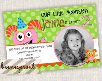 Pink Monster Bite Girl Birthday Invitation