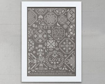 INSTANT DOWNLOAD Love & Unity Valentine's Day PDF sampler cross stitch patterns by Modern Folk monochromatic wedding marriage