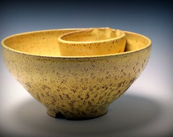 Extra Large Handmade Chip and Dip in Sunshine Yellow with Burnt Umber Flecks With Carved Texture and Tripod Fancy Feet/Ceramics and Pottery