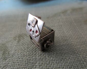 vintage sterling charm - deck of miniature playing cards, hearts, diamonds