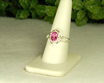 Pink Mystic Topaz Ring, Size 9, Watermelon Pink, Sparkling Clarity, Sterling Silver, Pink Topaz, Deep Pink Gemstone