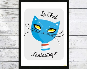 Le Chat Fantastique - Cat print - Cat lover gift - French Cat - Cat wall art - Cat lover - Cat art print