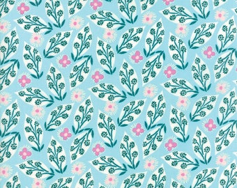Kate Spain Voyage Fabric by the Yard, Jambi in Turquoise Blue, Moda Fabrics, 27282-11