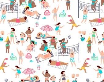 Life's A Beach, Dear Stella Fabrics, Multi Life's A Beach, Fabric by the Yard, ST-950MULT