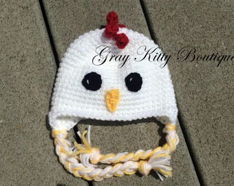 Crochet Chicken Hat - Chicken Hat - Crochet Chick Hat - Chicken Costume - Chicken Halloween Costume