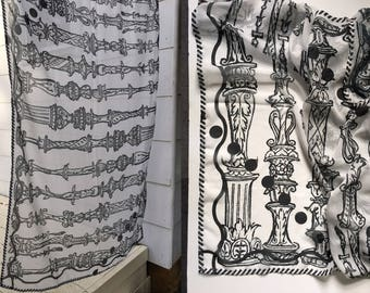 Scarf, Chiffon, Large Wrap, Shawl || Carved Designs || Black and White Pattern || Cool, Fun, Graphic, Chiffon, Lightweight, Airy, Floaty