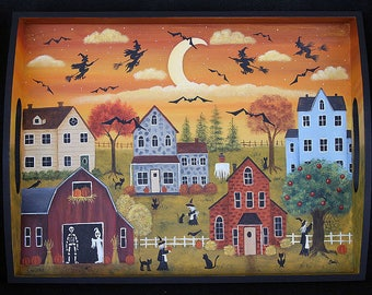 Folk Art Halloween Spooky Village Hand Painted Tray, Witches, Bats, Ghost, Skeleton, Black Cats, Scarecrow, Pumpkins, Webs, MADE TO ORDER