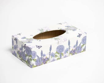 Wild Flower Long Tissue Box Cover handmade in UK wooden perfect gift