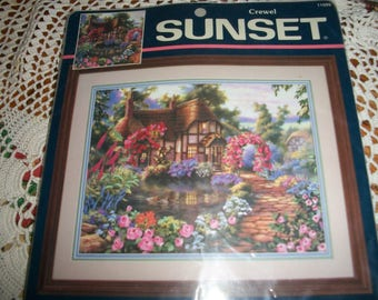 Sunset Cottage Crewel Kit