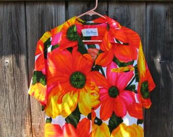 SALE-Vintage 60s Men's Elsie Krassas Size Medium Hawaiian Shirt