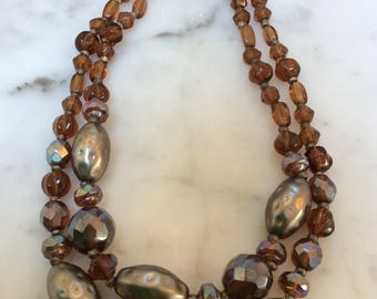 West Germany Faceted Amber Glass Beaded Necklace