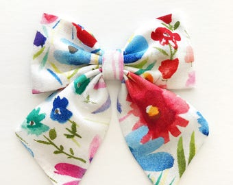 Floral Sailor Bow - Oversized Fabric Bow Clip - Sailor Bow Clip - Big Sailor Bow - Bow Clip - Fabric Clip Bow - Watercolor Floral Bow Clip
