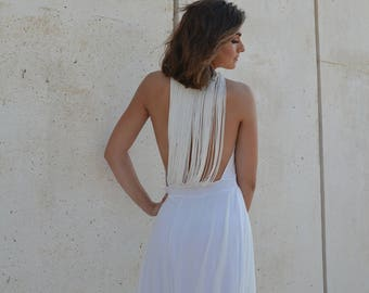 Alternative wedding dress, open back dress, low back wedding dress, fringe back wedding dress, boho wedding dress, unique wedding dress