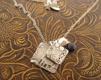 Square Cirque Mothers charm necklace pure silver and one of a kind