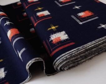 Indigo Blue IKAT Wool Kimono Fabric unused bolt by the yard Navy Blue Red Yellow and White IKAT Kasuri print 100% Wool OFF the bolt
