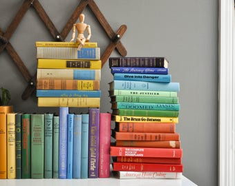 Collection of Sixteen Vintage Rainbow Colored Books