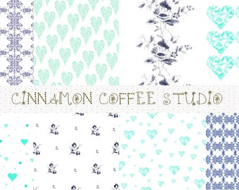 Blue Vintage Style Digital Papers, Aqua Retro Textures, Blue Boho Backgrounds, For Scrapbooking