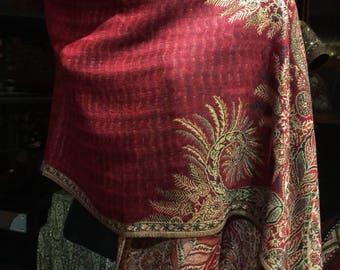 Nemesis Vintage Burgundy Red and beige Paisley Brocade Pashmina Scarf Wrap