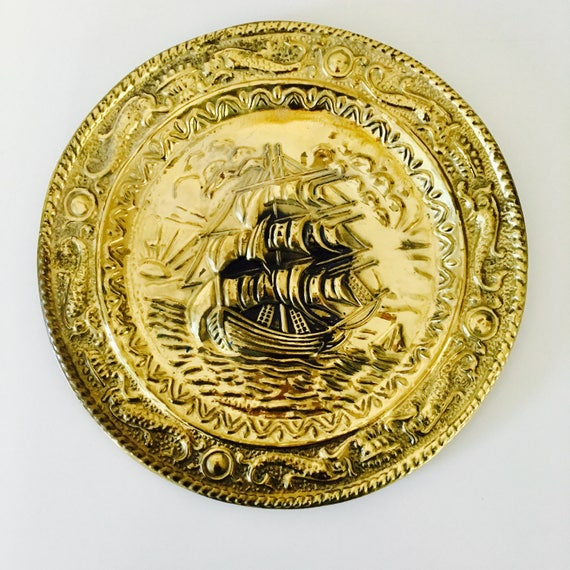 "Vintage Brass Wall Plate Gold Tone Nautical Themed 9 1/2"" Diameter Embossed Brass Decor Made in England Old World Sailing Ship Brass Plate"