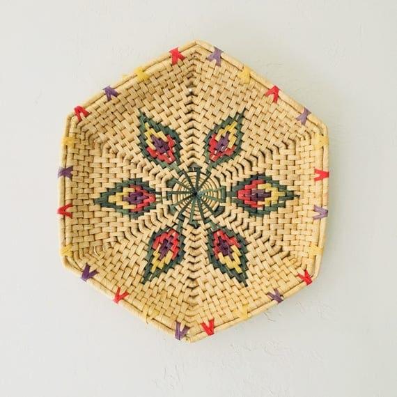 Vintage Rattan Coiled Basket Tribal Woven Straw Wall Art Large Flat Basket Tray Colored Rattan Boho Decor Southwestern Style Bohemian Basket