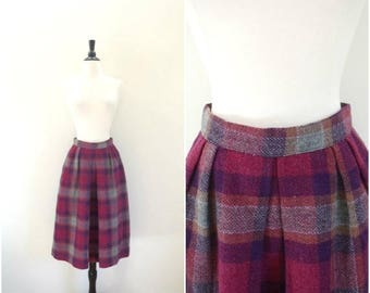 Moving Sale Vintage purple plaid wool skirt / high waisted full pleated skirt