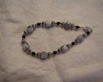 Marble cubes with black and silver tone bracelet #103